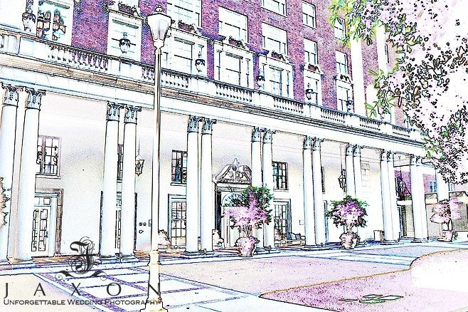 Exterior of the Biltmore sketch and ink | Biltmore Ballrooms Real Wedding