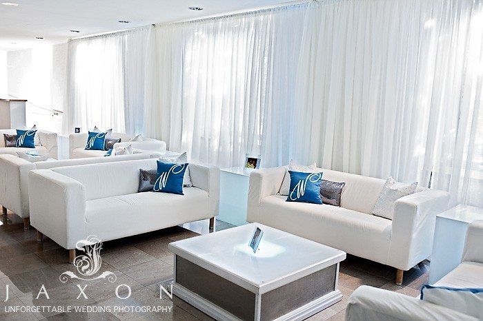 the lounge area next to the georgian ballroom, in white and a a touch of blue | Biltmore Ballrooms Real wedding