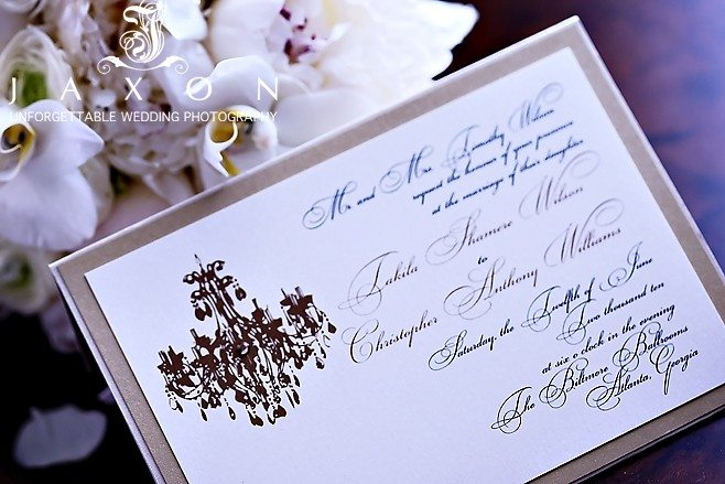 Invite to wedding at the Biltmore Ballrooms Atlanta | Biltmore Ballrooms Real Wedding