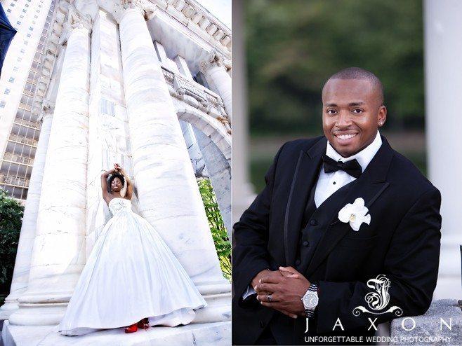 Bride and groom at the Carnegie Monument education Pavilion in Atlanta | Biltmore Ballrooms Real Wedding