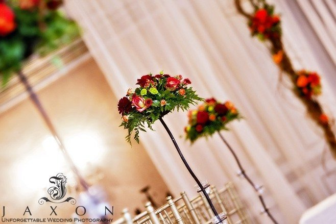 elevated floral displays seem to be suspended in mid air in the ballroom at the Ritz in downtown Atlanta