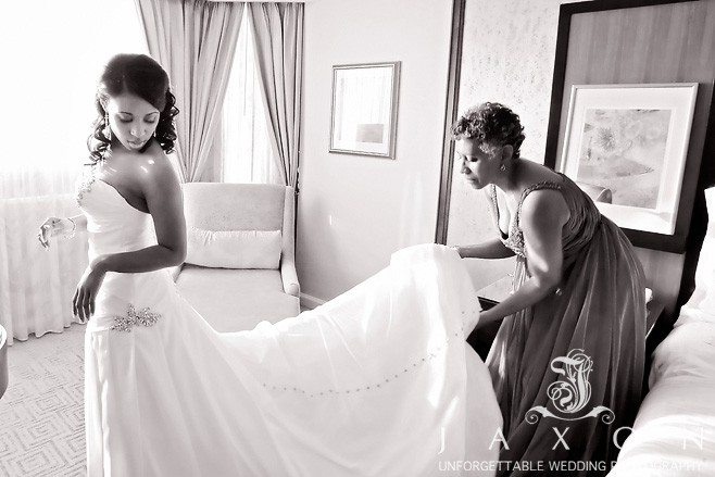 Mother fluffs daughter 8ft train moment before wedding ceremony at the Ritz Carlton Atlanta
