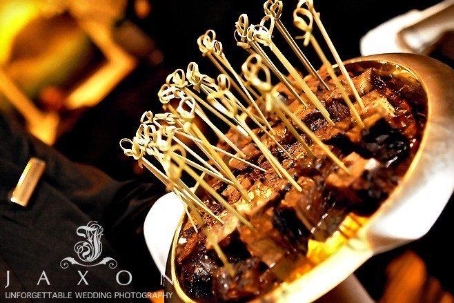 Bamboo squired beef appetizers at Ritz Carlton Atlanta Wedding
