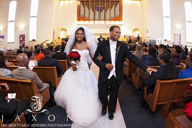 Bride and Groom all smiles as the leave Cascade United Methodist Church as husband and Wife