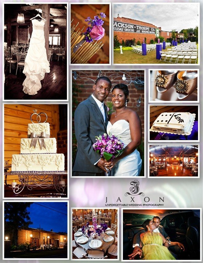 Collage of images from wedding t the Cotton warehouse in Monroe GA | Cotton Warehouse Wedding