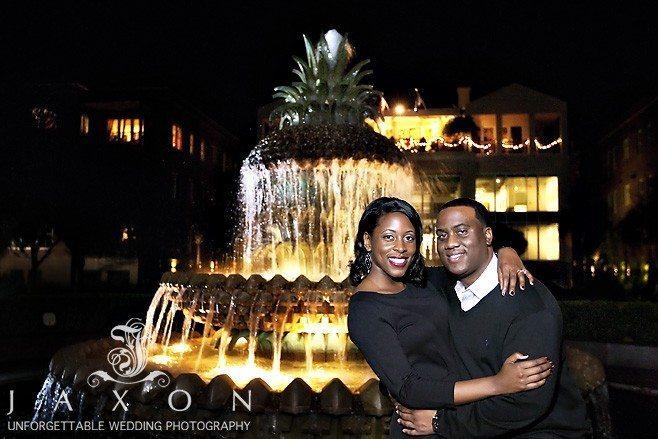 Pineapple Fountain, Charleston at night