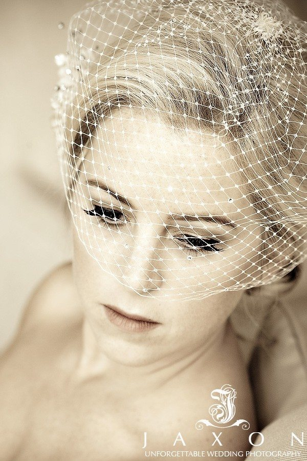 Sepia toned image of bride at her peachtree Club wedding