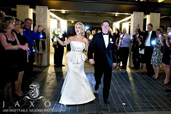 the grand exit in the courtyard at 999 Peachtree | | Peachtree Club Roof top Weddings