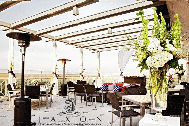 The Rooftop designed as a dance floor and Lounge | Peachtree Club Roof top Weddings