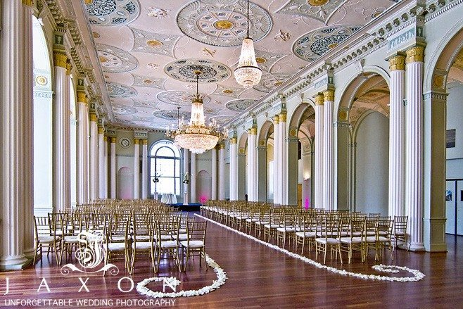 The Georgian Ballroom with gold Chiavari chairs for Biltmore Ballrooms wedding ceremony