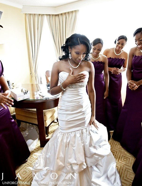 Bride get emotional surrounded as her bridesmaids look on