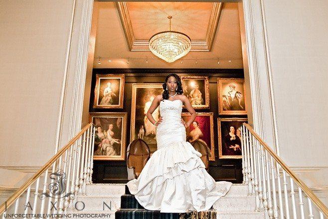 Bride descends stairs at the Ritz Carlton Atlanta