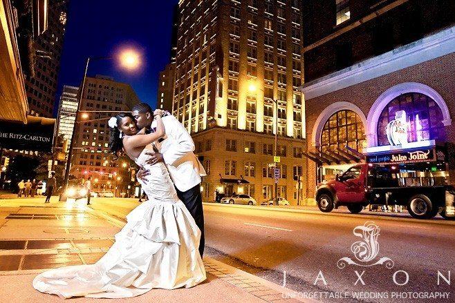 Pictures of wedding couple on Peachtree Street outside the Ritz Carlton Atlanta
