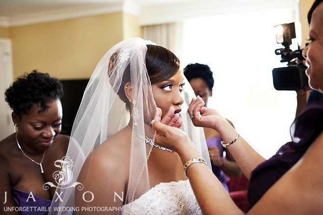 Final touch just before her wedding