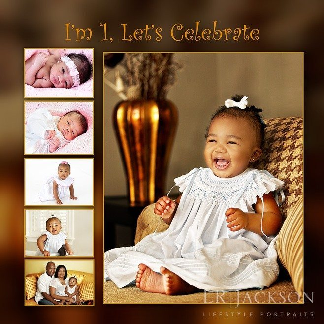 Photograph of a babes first birthday card with images of her through out her first year