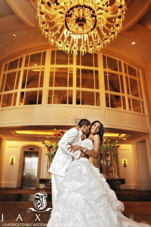 Photo of bride and groom in the lobby of St. Regis Atlanta