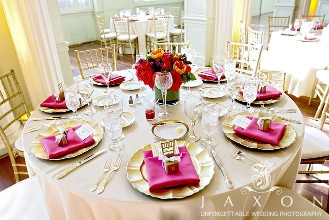 Beautifully decorated wedding dinner table