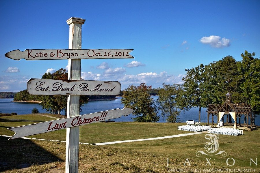Creative signage at Lake Lanier Wedding