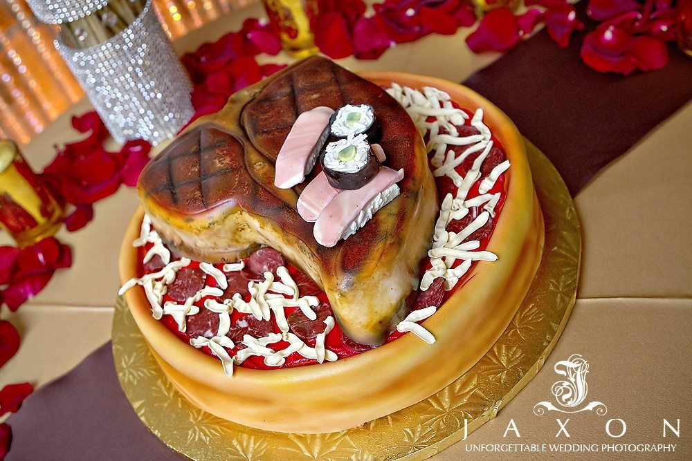 Creative wedding cake, Steak, pizza, and sushi PineIsle Point| Lake Lanier Wedding