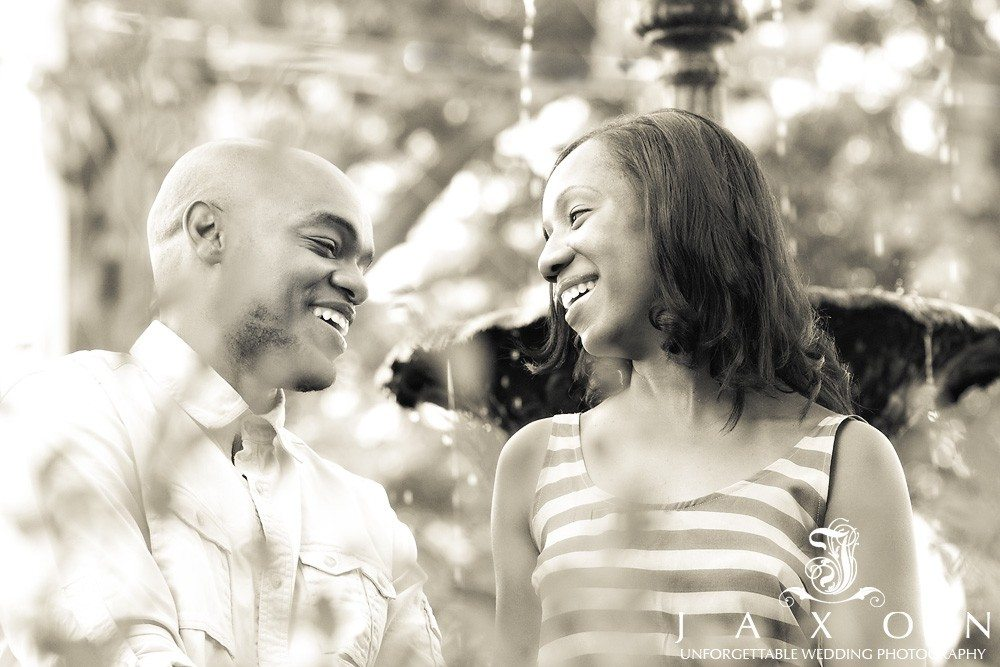 couple shares a laugh during their Norcross engagement