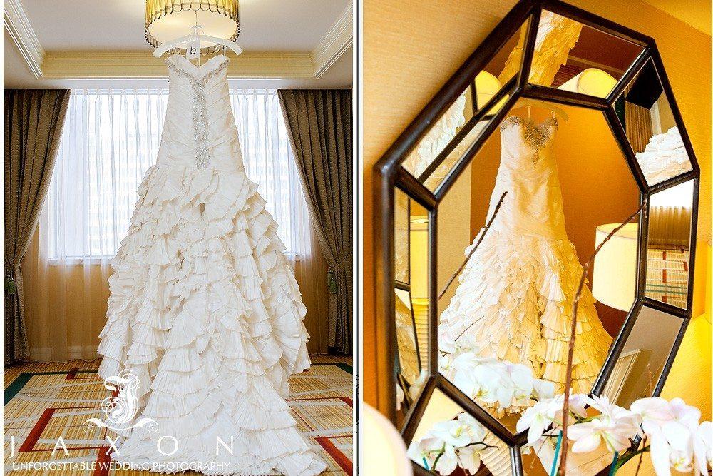 two views of the brides wedding dress hanging at the Ritz Atlanta