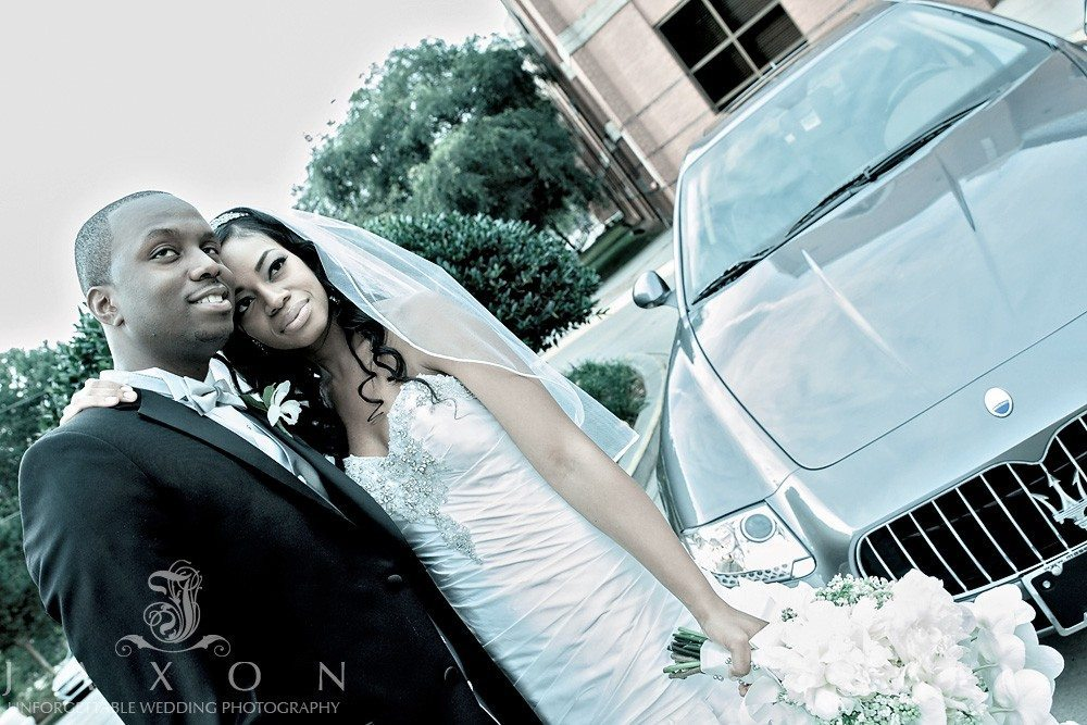 This beautiful Maserati Quattroporte was the ride of choice as the couple left their wedding ceremony at historic Ebenezer Baptist Church for their reception at 200 Peachtree in Atlanta