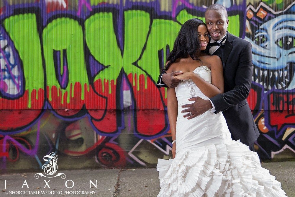Using the urban landscape as a backdrop for their wedding pictures in Atlanta
