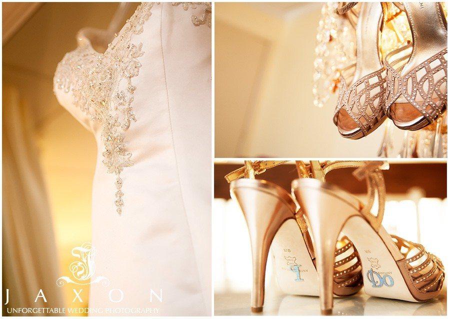 Brides dress and shoes on | atrium norcross wedding