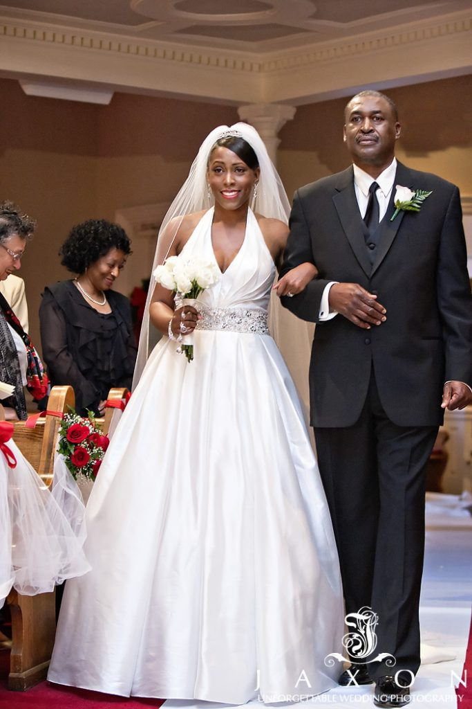 Dad escorts daughter into Tabernacle Baptist Church wedding ceremony