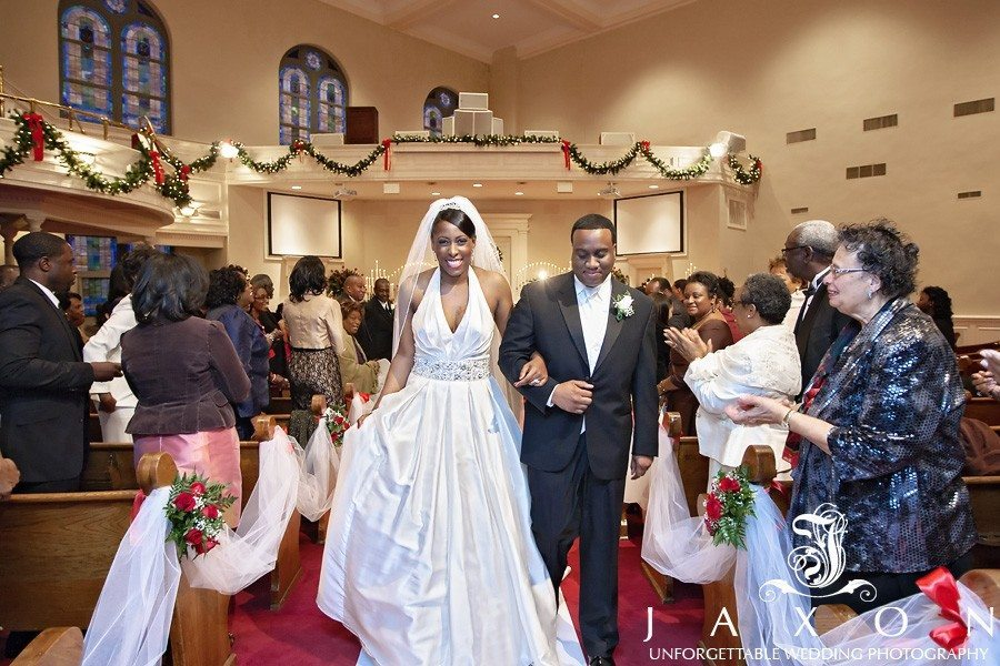 Newly married leave their wedding ceremony at Tabernacle Baptist Church in Augusta