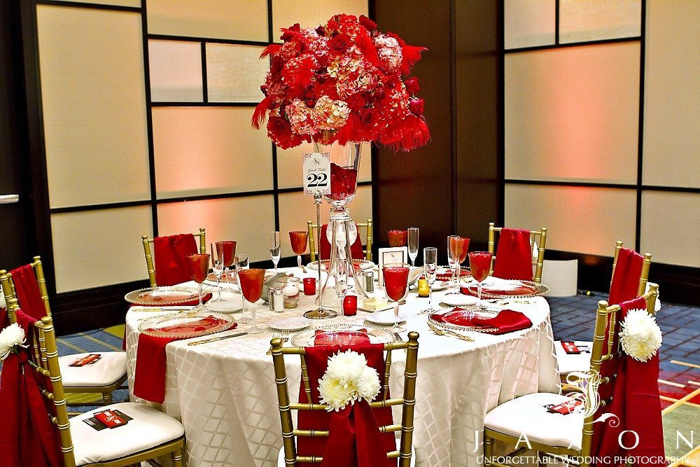 Beautiful tables scape in red and white