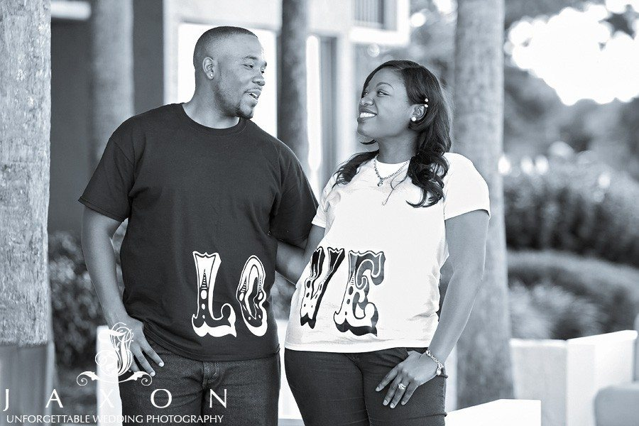 Love Couple wears theirCouples Love T-shirt at Sandestin Engagement session