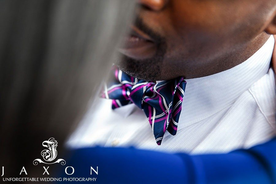 Close up of bow tie during engagement session