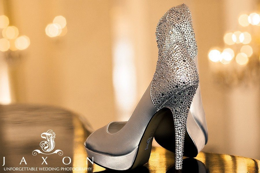 The bride's gorgeous bling encrusted pumps, photographed on the piano at the Venetian Room