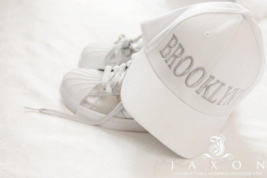 White sneakers and white brooklyn cap at the Sheraton in Brooklyn, NY  The Riviera Wedding Brooklyn, NY