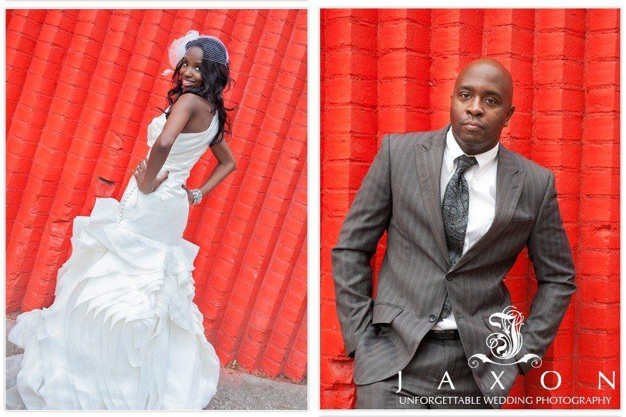 Bride and groom against a red wall near Brooklyn bridge Park   Riviera Wedding Brooklyn, NY