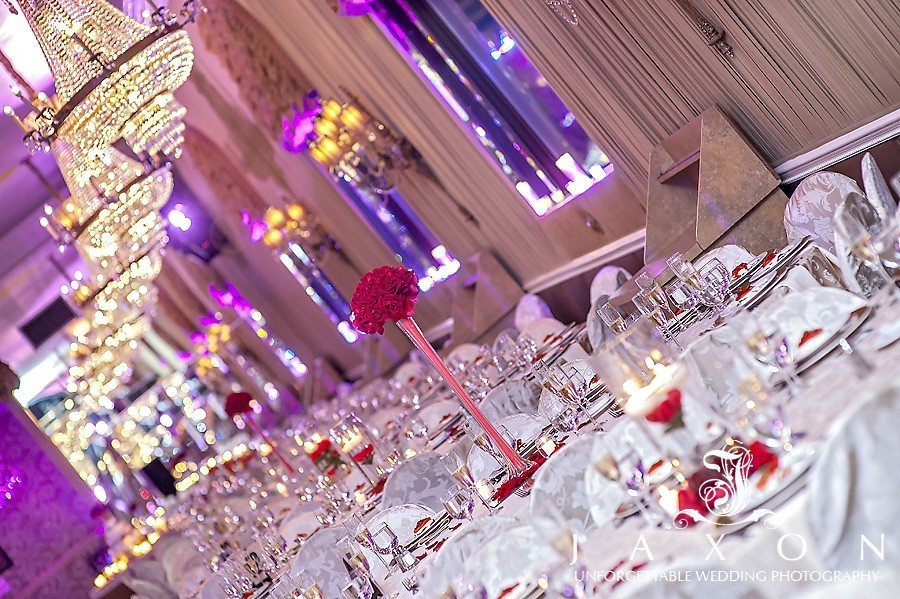 Beautiful table scape under the chandeliers   Riviera Wedding Brooklyn, NY