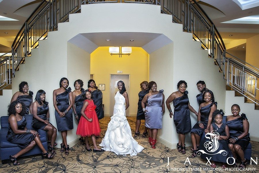 Bride and party of 14 at the staircase in Sheraton in Brooklyn, NY  The Riviera Wedding Brooklyn, NY