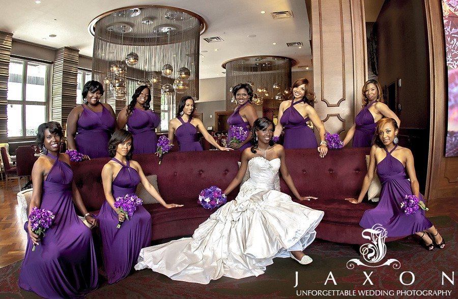 Bride and party hanging out at the Renaissance Atlanta Midtown Hotel before her Danielle and Doc's romantic Biltmore Ballrooms Wedding