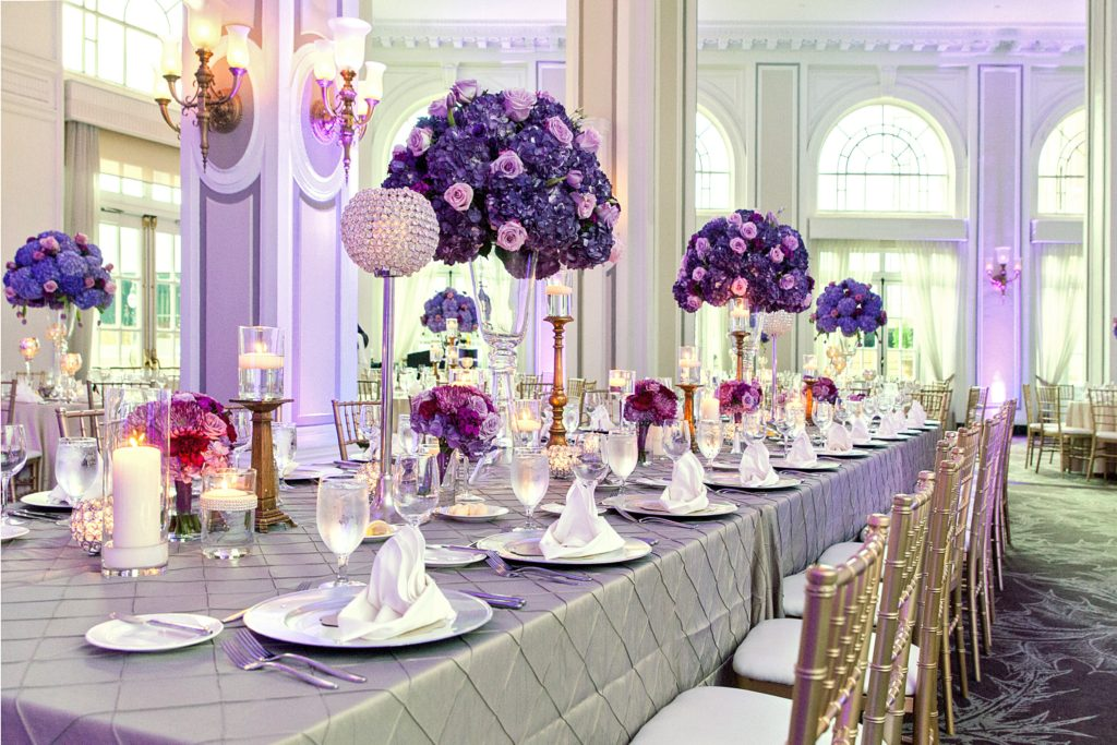 The Grand Ballroom at the Georgian Terrace Hotel decked out in gray and purple and pink
