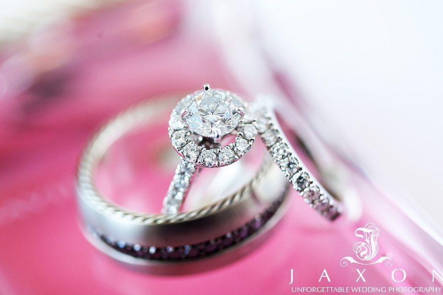 Diamond halo bridal ring set and groom's ring