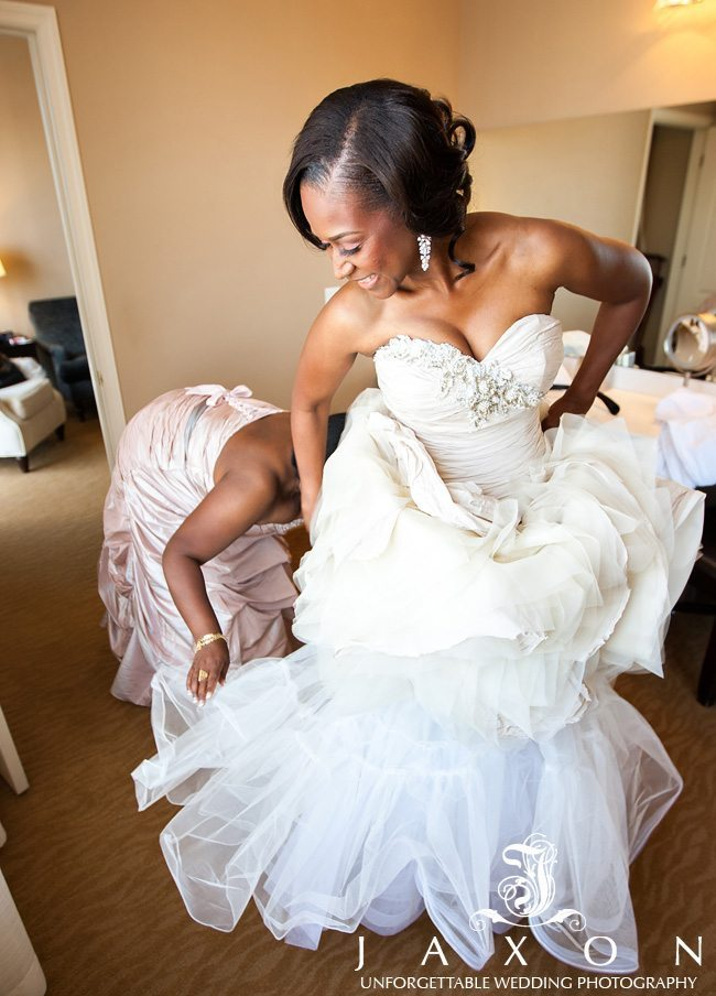 The beautiful bridal shoes with rhinestones on the platform and the peep toe area adorned with feathers