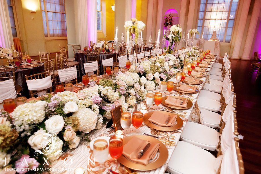 Estate dining table where the bride and groom are hosted in splendor for Biltmore Hotel Reception
