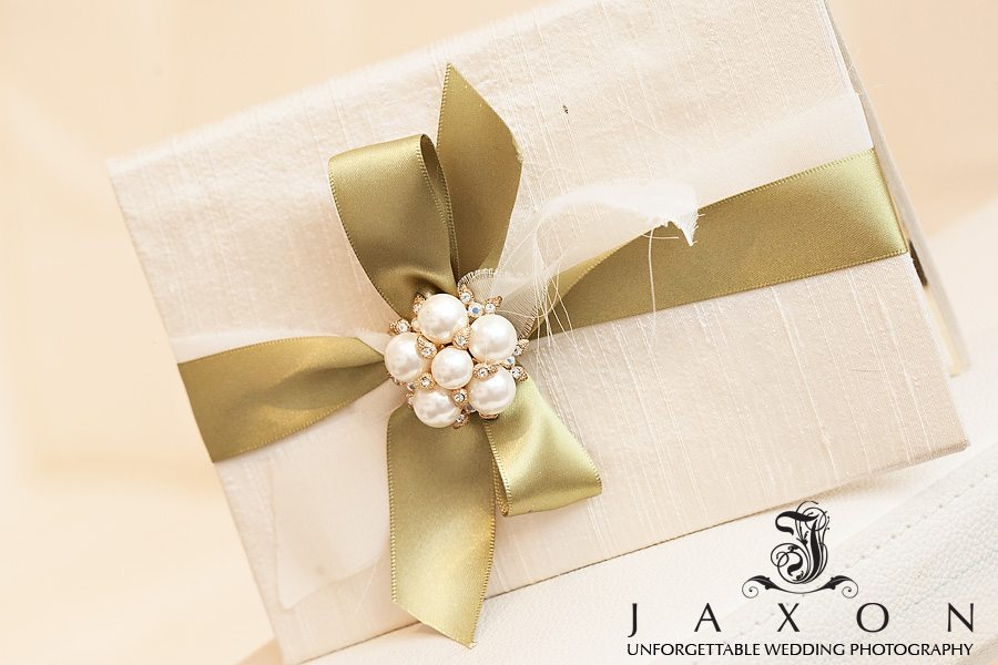 Wedding Invite Light parchment paper accentuated with pearls gold and rhinestones