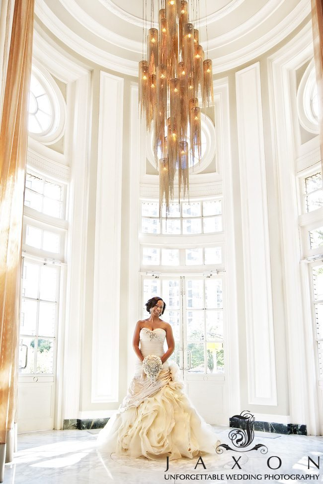 bride under the Chandelier in The Livingston Restaurant at the Georgian Terrace hotel