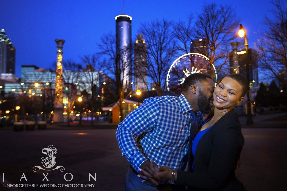 Centennial olympic park engagement session at twilight