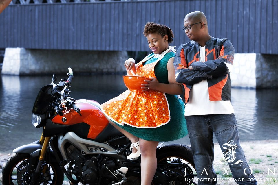 Motor cycle bakery themed engagement