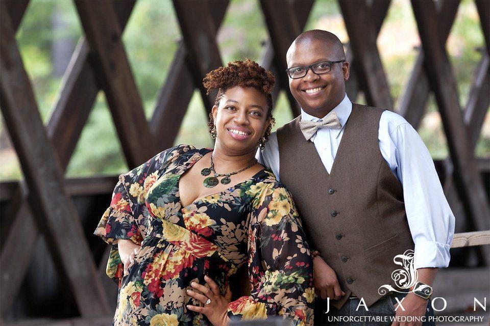 couple on covered bridge