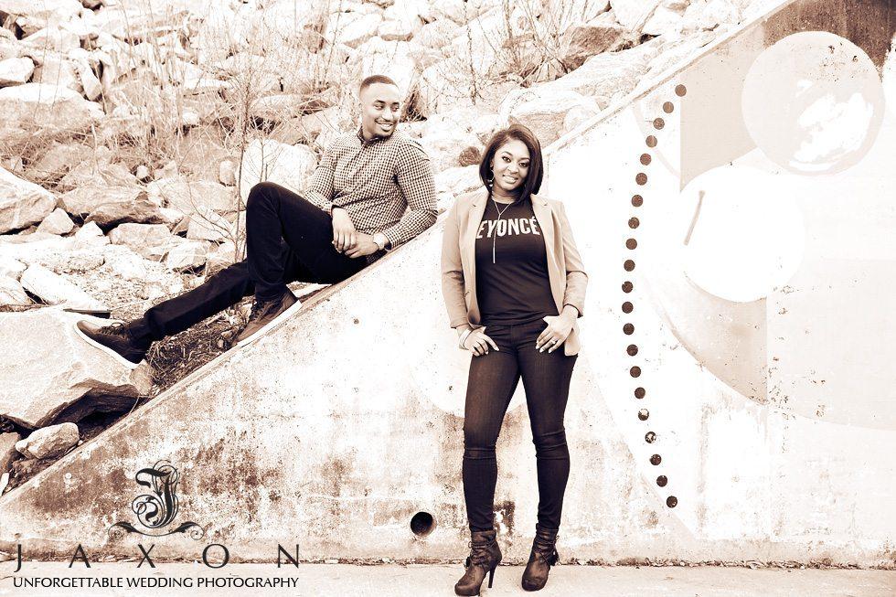 Sepia portrait of engaged couple at Atlanta Beltline North Av underpass