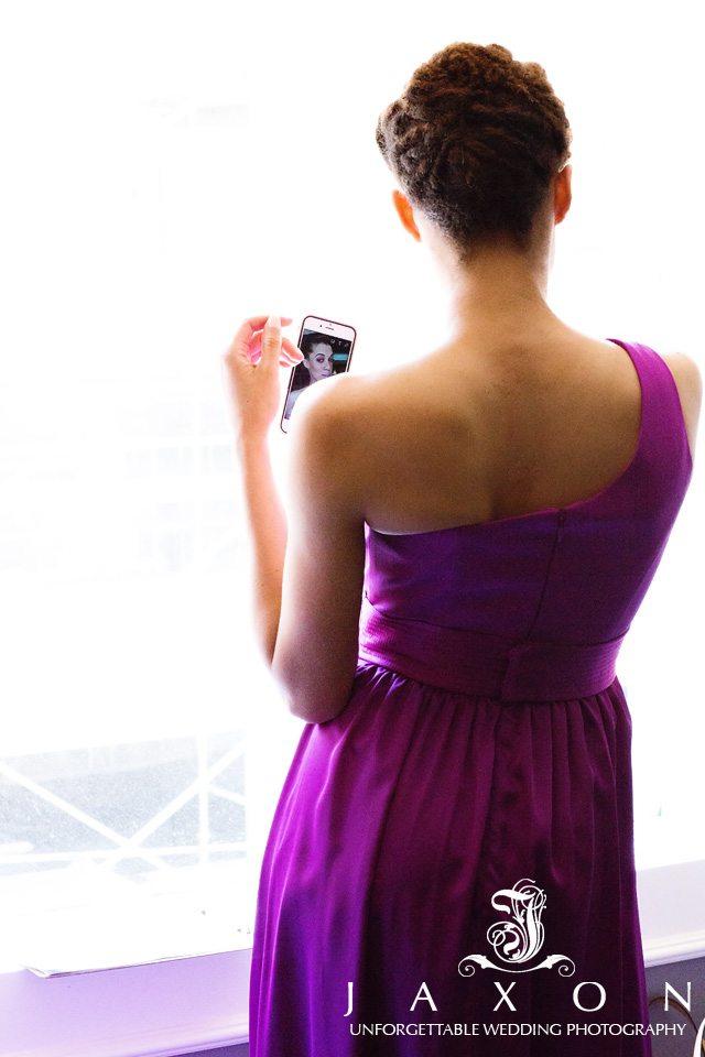 Bridesmaid taking selfie at the Venetian-Room-Wedding